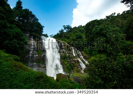 Gigantic waterfall and blue sky