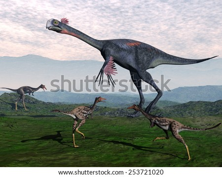 Gigantoraptor surrounded with small mononykus dinosaurs in the mountain - 3D render - stock photo