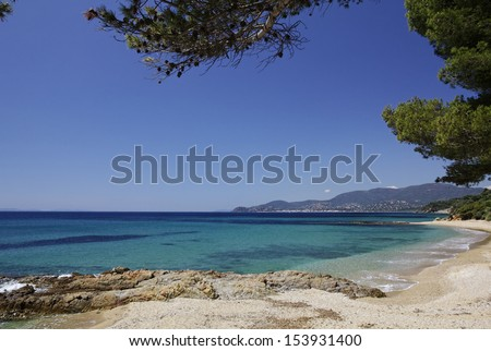 Gigaro beach near the city La Croix Volmer, Cote d'Azur, Cote dAzur, French, Riviera, Provence, Southern France - stock photo