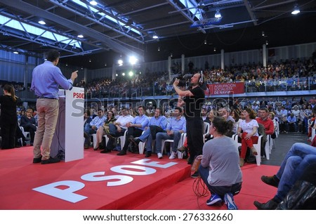 GIJON, SPAIN - MAY 8: Rally of the Spanish Socialist Workers' Party (PSOE) in May 8, 2015 in Gijon, Spain. Pedro Sanchez, General secretary of the Spanish Socialist Workers' Party (PSOE).