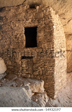 Gila Cliff Dwelling interior structures - stock photo