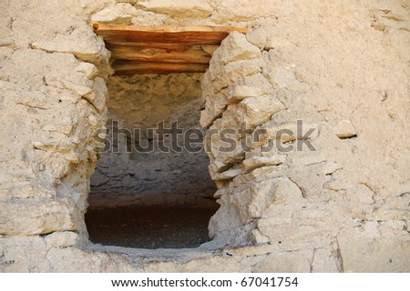 Gila Cliff Dwellings National Monument window - stock photo