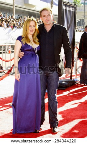 "Gillian Anderson and husband at the World Premiere of ""The X-Files: I Want To Believe"" held at the Grauman's Chinese in Hollywood, California, United States on July 23, 2008."
