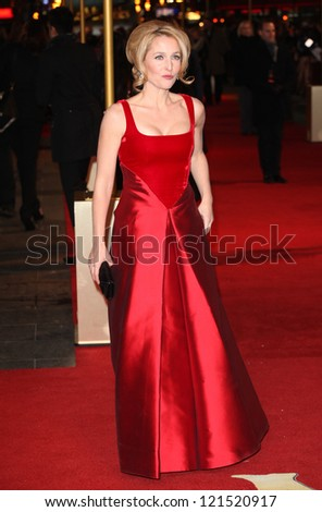 Gillian Anderson arriving for the premiere of 'Les Miserables' at Leicester Square, London. 05/12/2012 Picture by: Alexandra Glen