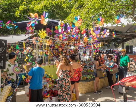 GILROY, CA/USA - July 24-26, 2015: 37th annual Gilroy Garlic Festival is ultimate summer food fair entertaining nearly 100,000 visitors with 50 live concerts, childrenâ??s activities, arts & crafts - stock photo