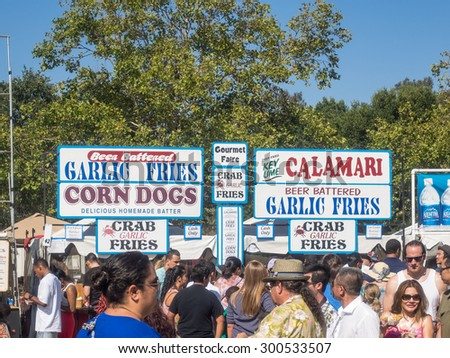 GILROY, CA/USA - July 24-26, 2015: 37th annual Gilroy Garlic Festival is ultimate summer food fair entertaining nearly 100,000 visitors with 50 live concerts, childrenâ??s activities, arts & crafts
