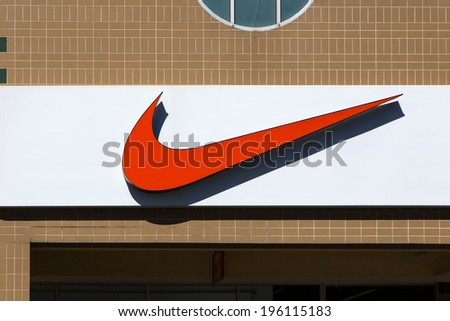 GILROY, CA/USA - MAY 26, 2014: Nike store exterior. Nike markets and sells footwear, apparel, equipment, accessories and services.