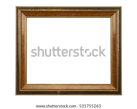 GILT AND STAINED WOOD PICTURE FRAME ON WHITE BACKGROUND
