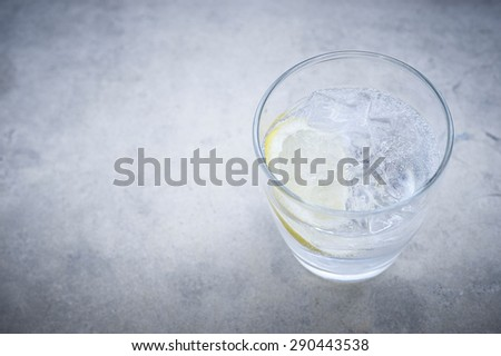 Gin and tonic cocktail with lemon