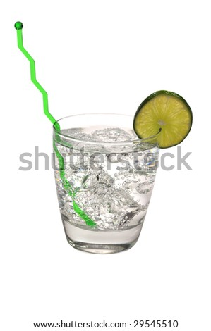Gin and Tonic with Clipping Path - stock photo