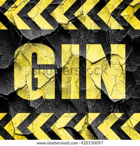 gin, black and yellow rough hazard stripes