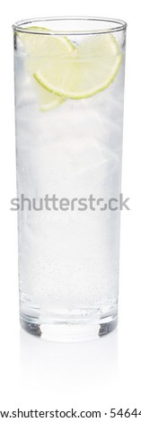 Gin Fizz Cocktail - isolated on white - stock photo