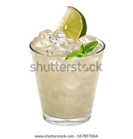 Gin fizz with lime on white background - stock photo