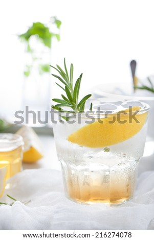 Gin, tonic, lemon, rosemary fizz, cocktail with honey and fresh herbs on a white background. - stock photo