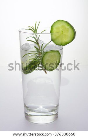 Gin tonic with cucumber - stock photo