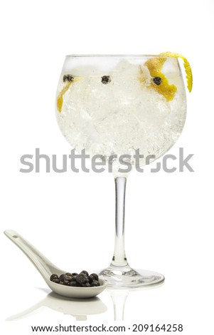 Gin tonic with juniper - stock photo