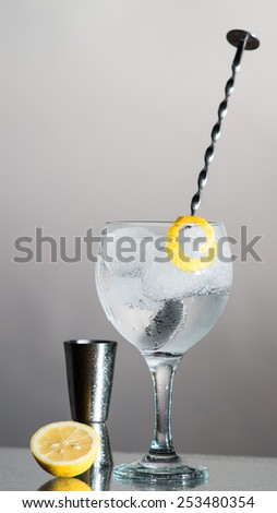 Gin Tonic with lemon and botanics in a balloon glass on grey background. With bar spoon and measure cup. - stock photo