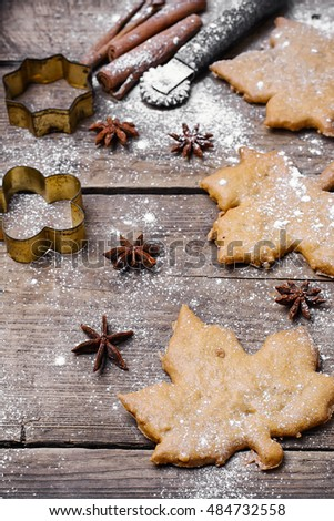 Ginger autumn handmade home made biscuits from the bakery with spices
