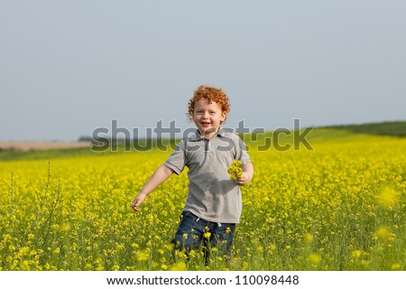 ginger baby boy with a bouquet of yellow flowers running in the field. outdoor shot - stock photo