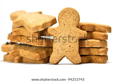 Ginger Cookie. Gingerbread man isolated on white background. - stock photo