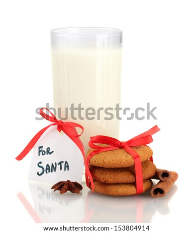 Ginger cookies and milk in glass isolated on white - stock photo