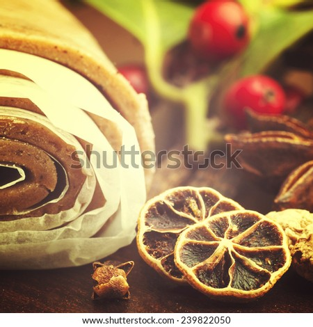 Ginger Cookies Dough and spices on wooden table - stock photo