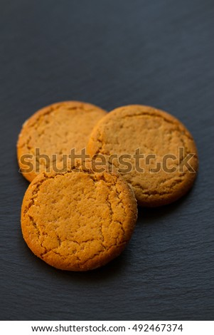 Ginger Cookies on a black plate