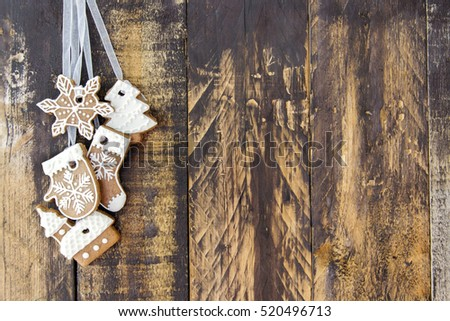 Ginger cookies on wooden brown background