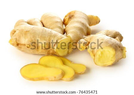 Ginger cut in slices  on white background - stock photo