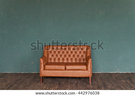 Ginger genuine leather classical style sofa in vintage room