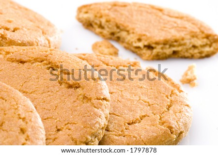 Ginger nut biscuits on a white background