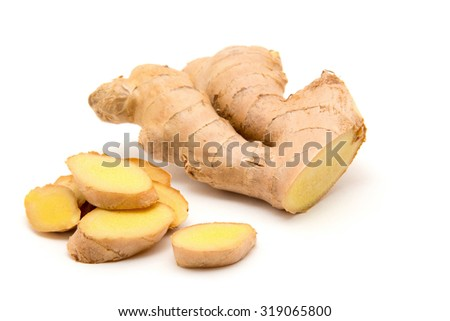 ginger on white background - stock photo