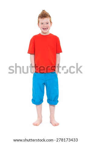 Ginger red hair haired boy. Isolated on white background