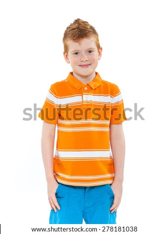 Ginger red hair haired boy. Isolated on white background - stock photo