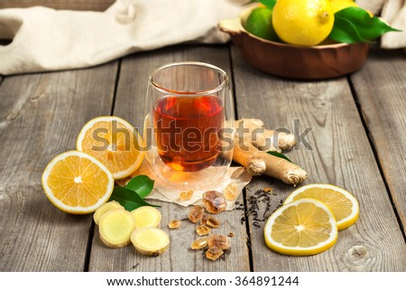 Ginger tea and ingredients - stock photo
