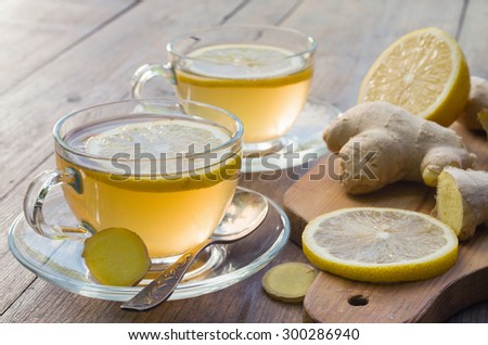 Ginger tea with lemon - stock photo