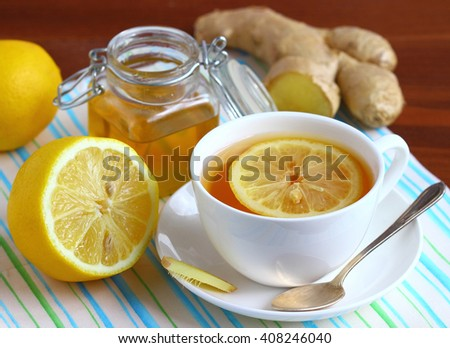 Ginger tea with lemon. - stock photo