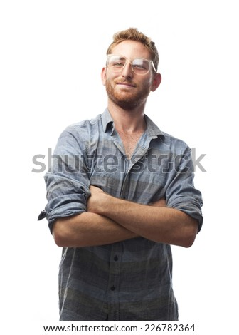 ginger young man with shirt and glasses - stock photo