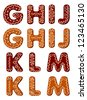 Gingerbread alphabet letters from G to M for christmas or new year holiday design - stock vector