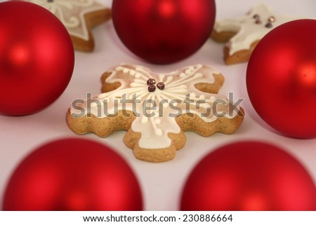 gingerbread and Christmas ball ornament - stock photo