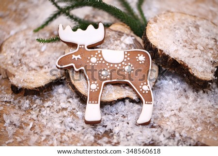 Gingerbread. Christmas cookies. Delicious gifts for the new year. - stock photo