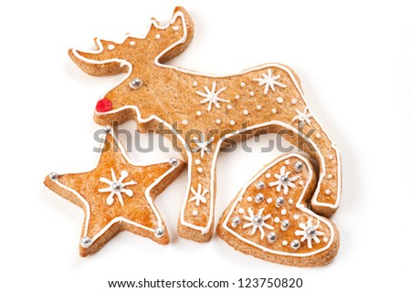 Gingerbread Christmas cookies on white background