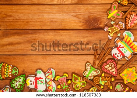gingerbread, Christmas cookies, top view, brown background