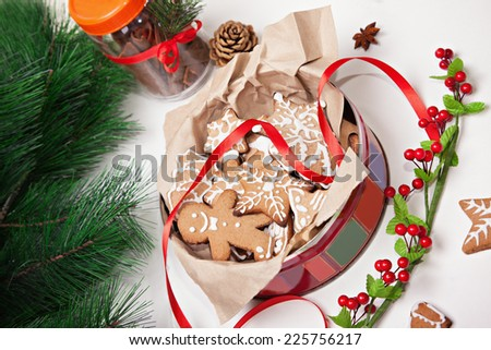 Gingerbread Christmas Cookies With Christmas Decoration Around