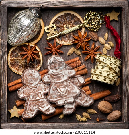 gingerbread, Christmas decorations and spices for baking. Christmas vintage background - stock photo