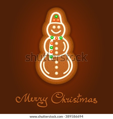 Gingerbread Christmas snowman decorated icing. Holiday cookie in shape of Christmas snowman for christmas, winter holiday, new year's day, new year's sweet pastry.  - stock photo
