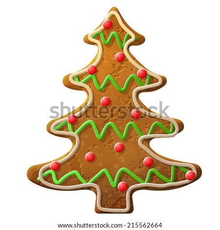 Gingerbread christmas tree decorated colored icing. Holiday cookie in shape of christmas tree. Illustration for new year's day, christmas, winter holiday, cooking, new year's eve, food, silvester, etc