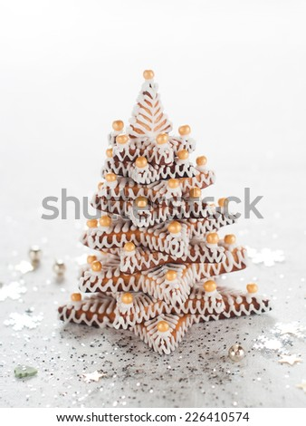 Gingerbread Christmas tree, selective focus - stock photo