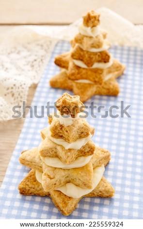 Gingerbread christmas trees. Beautiful xmas dessert - stock photo