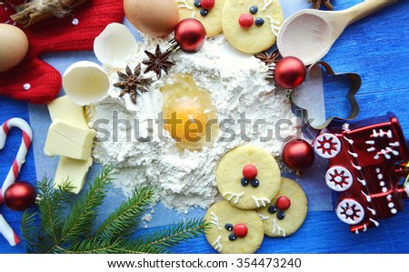 Gingerbread cookie.Christmas background.Christmas baking preparation background.cooking, cooking Christmas ginger cookies. magic of Christmas kitchen